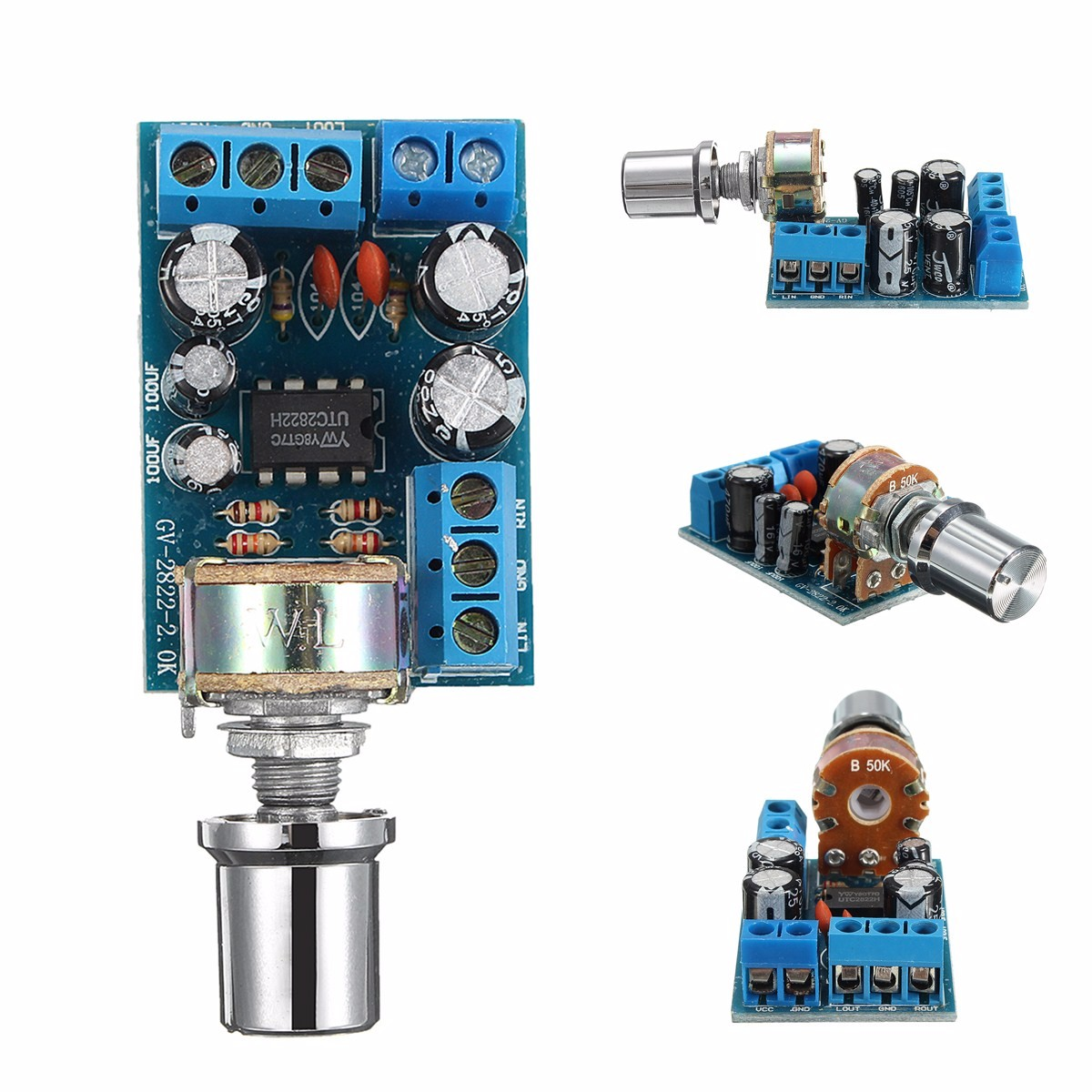 LEORY TDA2822M 1W*2 Dual Channel Audio Amplifier Stereo Module Board Volume Control DC 1.8-12V Operational Amplifier Chips