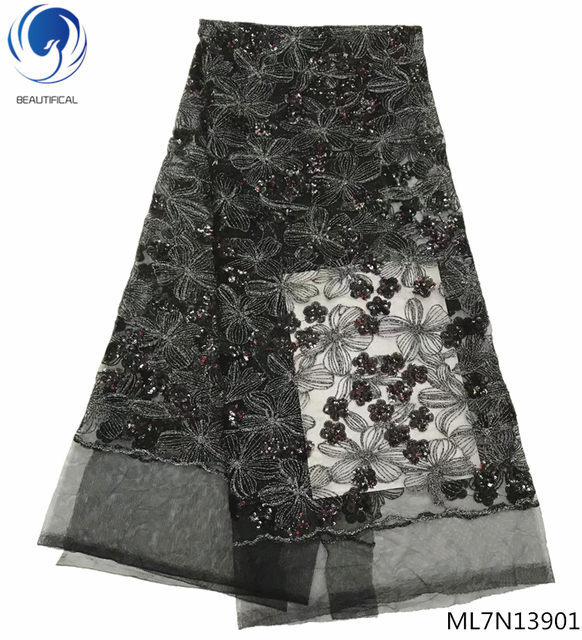 Beautifical sequin lace fabrics french tulle lace fabrics black sequins tulle laces for bridal dress 5yards/lot ML7N139