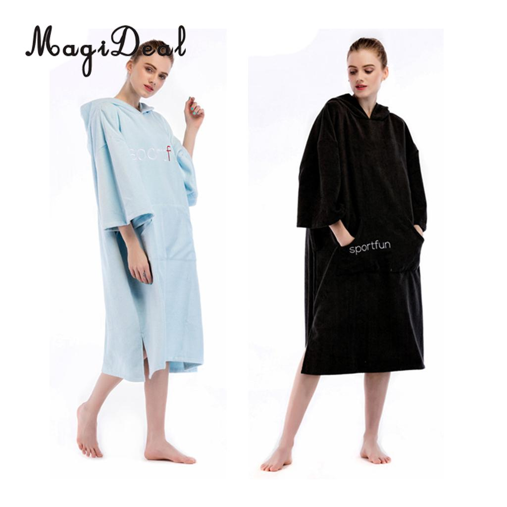 Unisex Soft Microfiber Water-absorbing Wetsuit Changing Robe Bath Towel Bathrobe Hooded Poncho for Beach Surf Swim Surf Windsurf