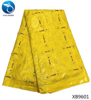 LIULANZHI bazin riche austria japanese cotton fabric wholesale high quality yellow brocade fabric with beads 5 yards/lot XB96