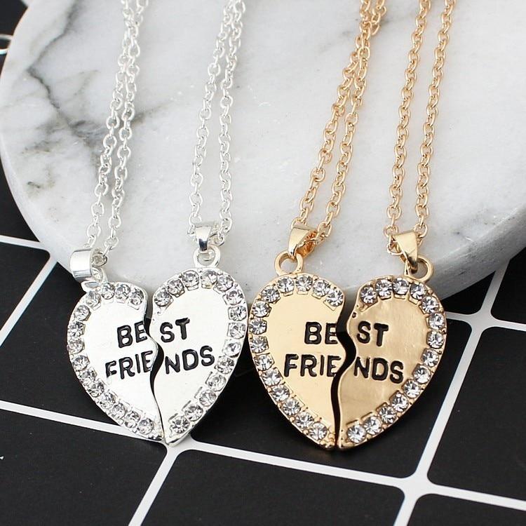 Heart English Pendeloque Cut Pendant Fashion Two Petal Drill Friends Necklace Good Friend Necklace