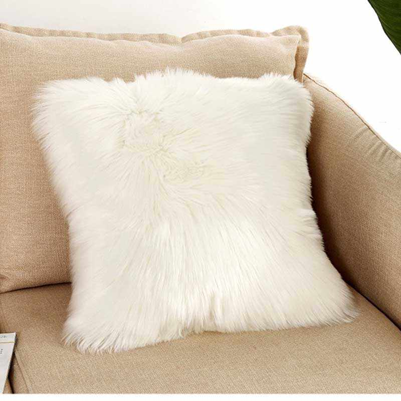 New Plush Pillowcase Soft wool Long Furry Sofa Cushion Cover 50*50cm Pillow Pink Cover for Sofa Home Decor Winter MJ054