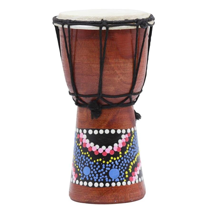 4 Zoll Afrikanische Trommel Percussion Kind Spielzeug Klassische Gemalt Holz Afrikanischen Stil Hand Trommel Für Kinder Spielzeug Aromatischer Charakter Und Angenehmer Geschmack