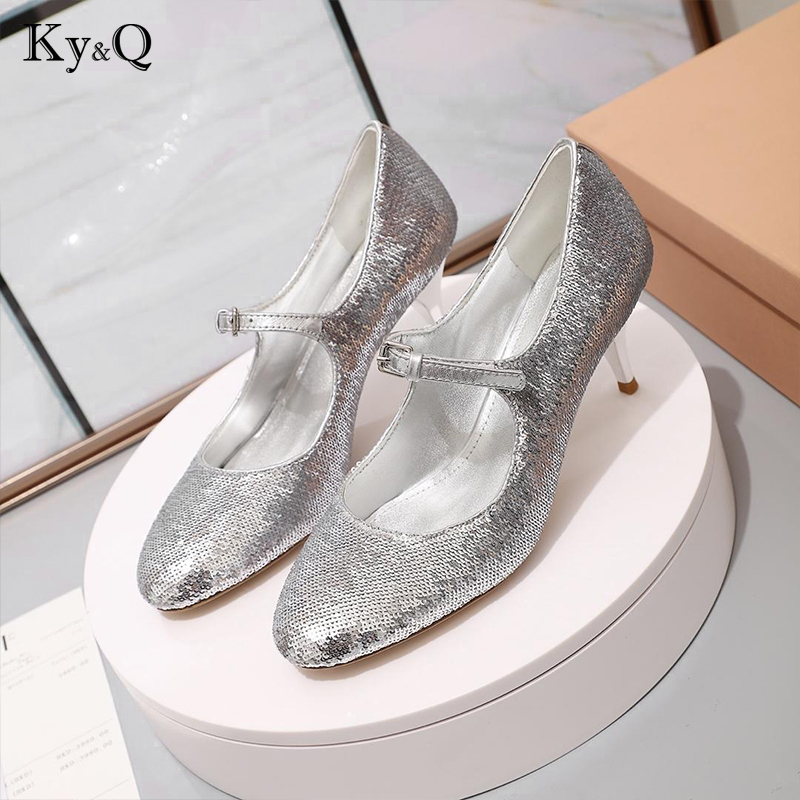 2019 New Fashion Brand Solid Color Sequin Shining Pumps Sexy Round Head Metal Heel Lady Party Wedding High Heels Shoes2019 New Fashion Brand Solid Color Sequin Shining Pumps Sexy Round Head Metal Heel Lady Party Wedding High Heels Shoes