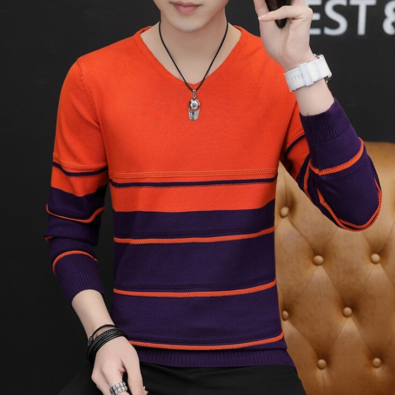 Zollrfea Hot Men Casual Solid Sweater Men Fashion New V-Neck Patchwork Quality Knitted Male Sweaters Plus Size 3XL AD00157(China)