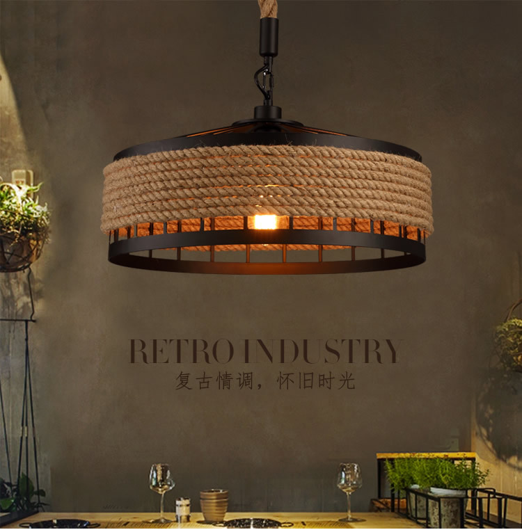 Attic Retro Industrial Style American Wrought Iron Rope Creative Chandelier Personality Restaurant Decoration Lamp