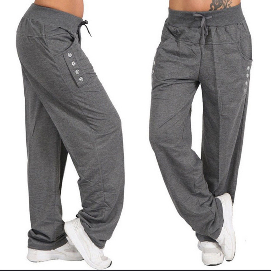 Plus Large size Women Casual Fitness Sweatpants Baggy   Wide     Leg     Pants   Ladies Drawstring Button Harem   Pants   Solid Color Trousers