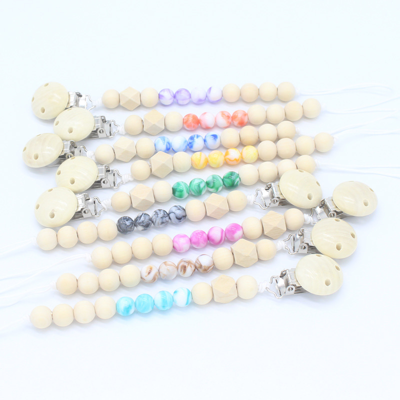 Wooden Beads Marble Acrylic Beads Baby Pacifier Clips Chain Dummy Nipple Holder For Infant Toddle Feeding