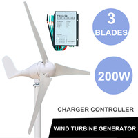 3 Blades Wind Generator With Windmill Charge Controller 200W DC 12V WindTurbine Energy Generators Electrical Equipment Kit