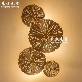 Mur LED Lampe De Chevet Lumière Lotus Feuille Cuivre Personnalité Salon Fond Mur Chambre Creux Lotus éclairage Mural