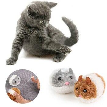 Di modo Gattino Giocattoli Bite giocattolo Sveglio Della Peluche Pelliccia di 1PC New Pet Piccolo Movimento Interattivo Ratto Del Mouse Scossa Divertente Gatto giocattolo 1