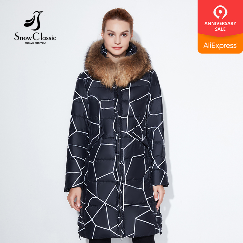 SnowClassic 2018 Fashionable women winter jacket thick Long Striped Coat Jackets Hood Adjustable Waist slim Warm