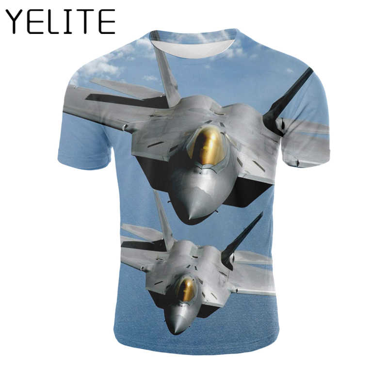 YELITE Aircraft T Shirt New Fashion Cool Casual Tshirt Plane Printed 3D T-shirt Streetwear Harajuku Funny Mens Tops Tee Hip Hop