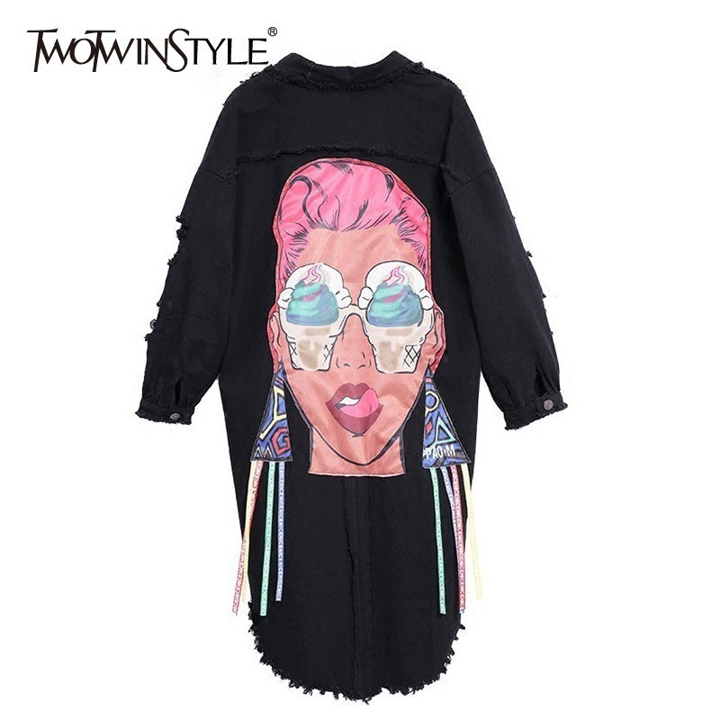 TWOTWINSTYLE Ripped Hole Denim Coats Women Long Sleeve Asymmetrical Print   Trench   Coat Female Spring Autumn 2018 Fashion New