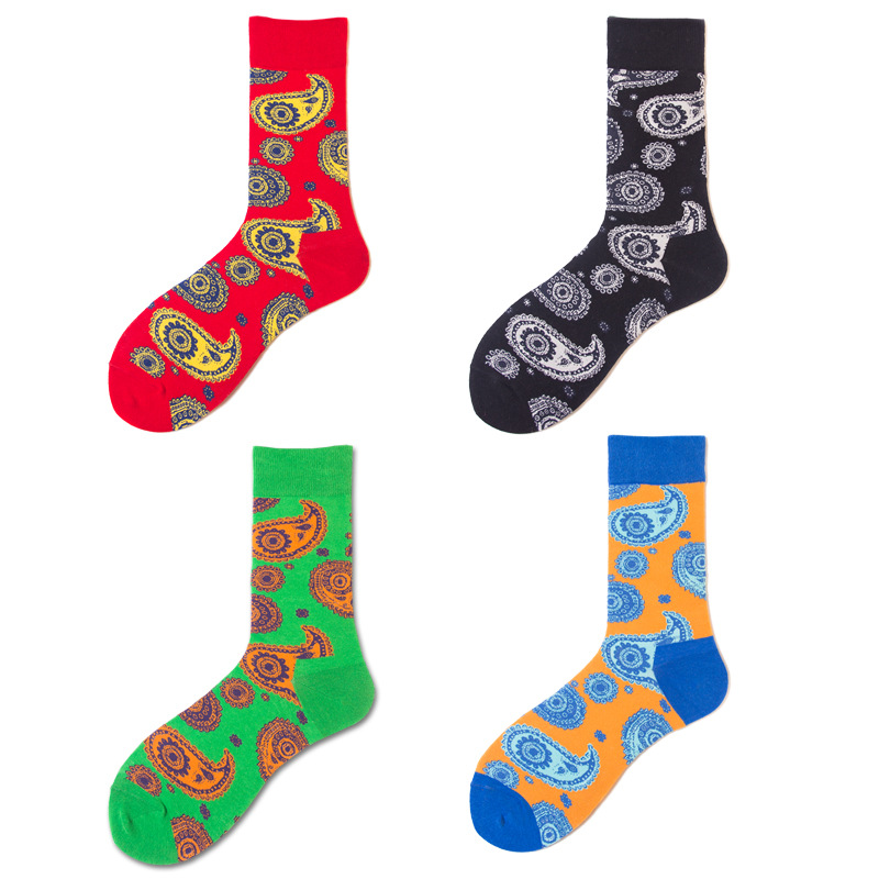 2019 Cotton Fashion Happy Tide Socks 4 Colors  Personality Jacquard Totem National Wind Men's Stockings Skate Socks Wholesale