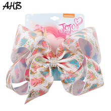 AHB 2019 7 Large Hair Bows for Girls Clips Rhinestone Gold Feather Flamingo Print Hairgrips Summer Kids Accessories