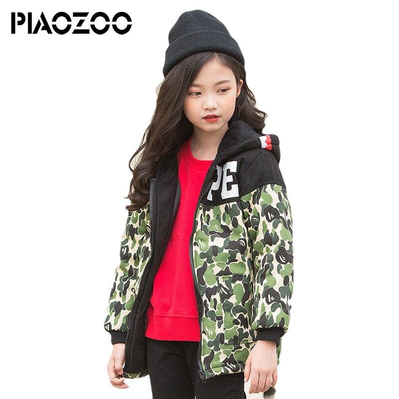 100% Kwaliteit Tiener Meisjes Kleding Koreaanse Mode Meisjes Camouflage Jas Winter Warm Thicken Hooded Overjas Kleding Patchwork Parka P20