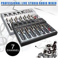 LEORY Professional Studio аудио микшер DJ микшерный пульт USB В 48 В для Live KTV сети звук мини 7 каналов