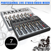 LEORY Professional Studio Audio Mixer DJ Mixing Console USB 48V For Live KTV Network Sound Console Mini 7 Channel