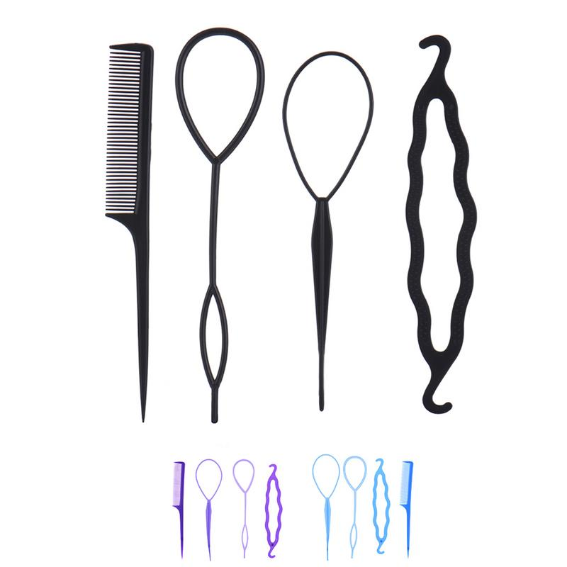 4Pcs/ Set Hair Disk Pull Hairpins Clips Comb Barrette Styling Tools Kit Braiding Donut Bun Maker Hairdressing Accessories