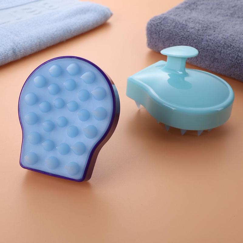 1pc Spa Slim Massage Brush Silicone Head Body Shampoo Scalp Massage Brush Hair Washing Comb Shower Bath Brush Accessories