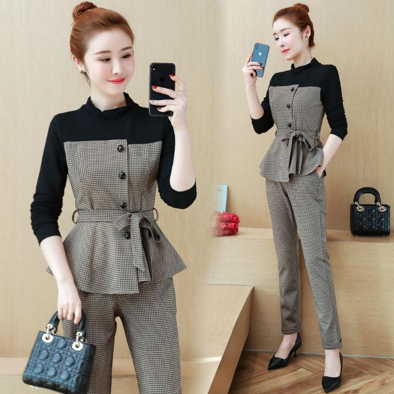 a6bb0175815f 2019 primavera otoño nueva moda coreana mujer traje de negocios pantalones  top 2 piezas ropa ...