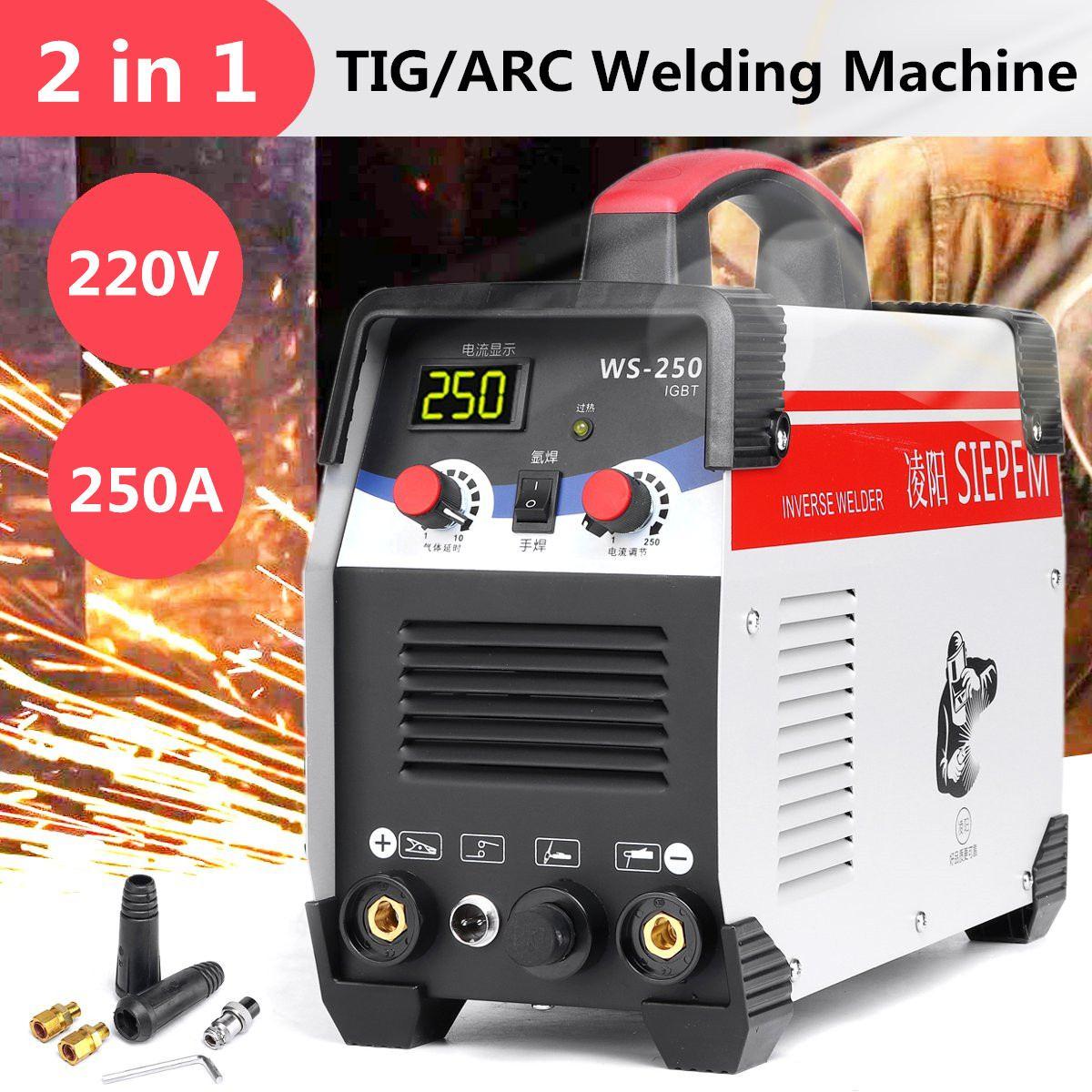 2In1 ARC/TIG Do Inversor IGBT Máquina de Solda a Arco Elétrico 220 V 250A MMA Soldadores para a Soldagem de Trabalho e Elétrica trabalhando