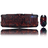 Tri Color Backlit Computer Gaming Keyboard USB Powered Full N Key Game Keyboard for Desktop Laptop Russian Spanish arabic Hebrew