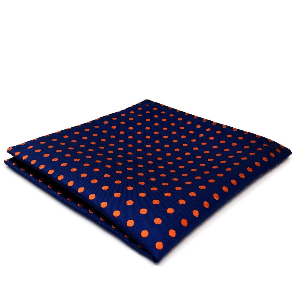 UH05 Navy Orange Dots Mens Pocket Square Fashion Classic Silk Dress Hanky Handkerchief