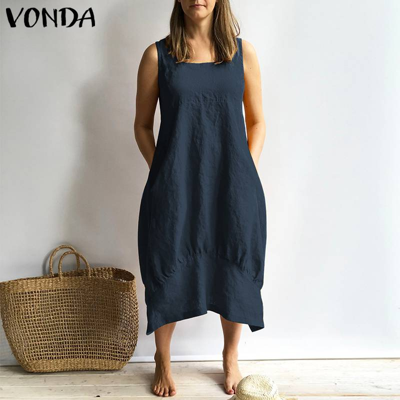New Women Dress 2019 VONDA Summer Sexy Sleeveless Square Neck Dresses Vintage Cotton Sundress Casual Loose Plus Size Vestidos
