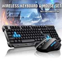 Teclado inalámbrico de 2,4G para videojuegos, combo de ratón/Sueño automático/Anti-ghosting/DPI ajustable/Adaptador receptor USB de 10m