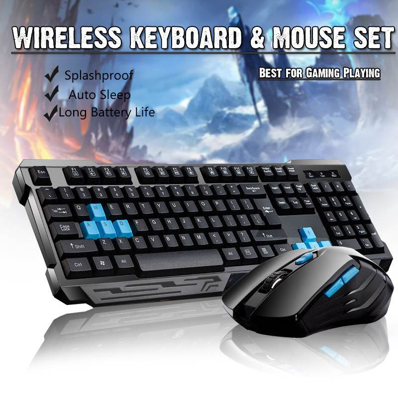 2.4G Wireless <font><b>Gaming</b></font> Keyboard Mouse Combos / Auto Sleep / Anti-ghosting / Adjustable DPI / 10m USB Receiver Adapter