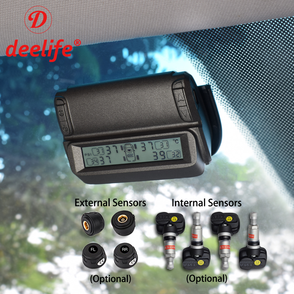 Deelife TPMS Tire Pressure Monitoring System Alarm Systems Security Car Windshield Tyre Internal External Sensor Solar Monitor solar power wireless lcd tpms tyre tire pressure monitor system for car truck external sensor monitoring security alarm systems