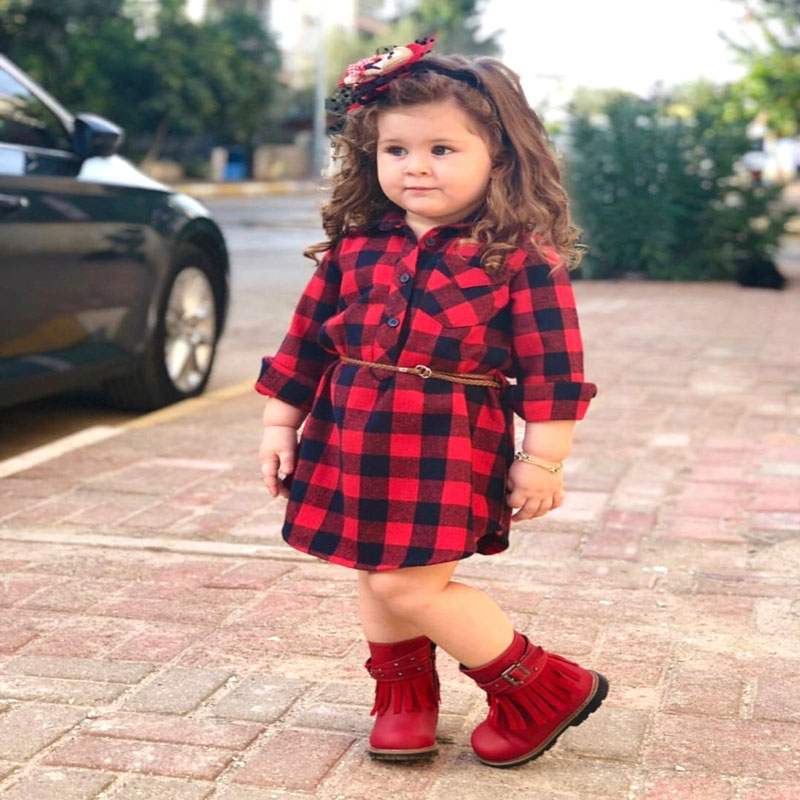 2019 Christmas Newborn Kids Baby Girls Plaid Princess Party Long Sleeve Dress Dropshipping Baby Clothes
