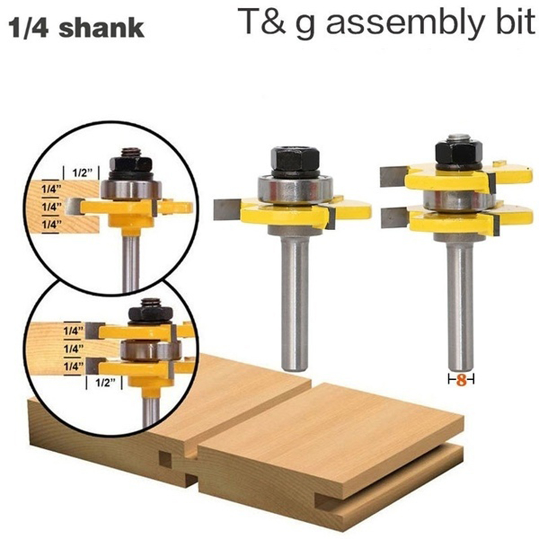 2Pcs 1/4 3/4 Inch T-Shaped Carbide Shank Wood Milling Cutter Tongue and Groove Router Bit Set Mill Woodworking Trimming Tools2Pcs 1/4 3/4 Inch T-Shaped Carbide Shank Wood Milling Cutter Tongue and Groove Router Bit Set Mill Woodworking Trimming Tools