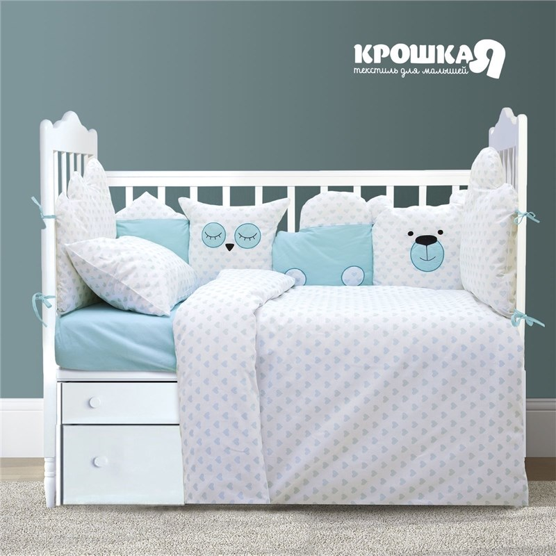 Baby bed Crumb I Blue heart 147*112 cm, 60*120 + 20 cm, 40*60 cm, 100% CHL, 125g/m2 calico