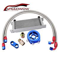 SPEEDWOW Silver Color Oil Filter Cooler Sandwich Adapter+AN10 Swivel Hose Fitting With Divider Clamp +13 Row Oil Cooler Kit