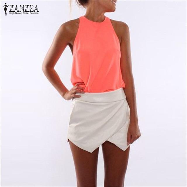 820919afc7 ZANZAN 2019 Women Summer Tank Top Sexy Halter Crochet Sleeveless Back  Zipper Vest Chiffon Top Casual