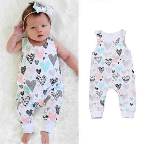 8061ca4083a 2019 Brand New Newborn Toddler Infant Kids Baby Boy Girl Outfits Clothes  Heart Print Romper Sleeveless