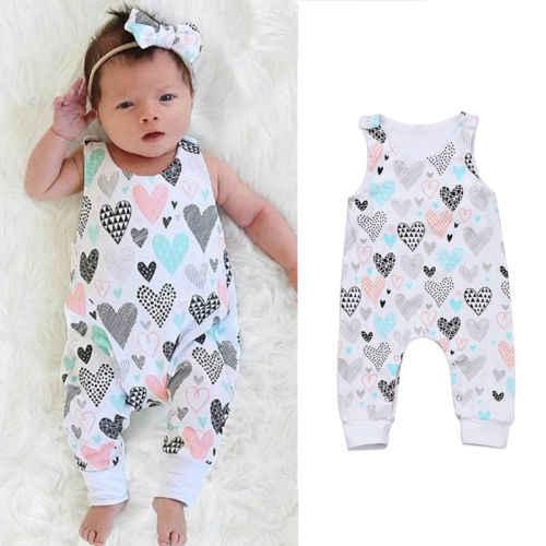 cfdbd21ac012 2019 Brand New Newborn Toddler Infant Kids Baby Boy Girl Outfits Clothes  Heart Print Romper Sleeveless