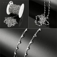 10m/spool Heart shaped Stainless Steel Handmade Chain Metal jewelry making Chains For Women men DIY Necklace Bracelets 9x4x2mm