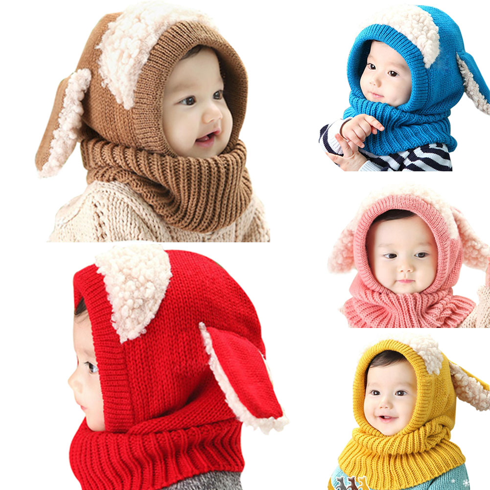 Kid Winter   Skullies     Beanies   with Scarves Rabbit Ear Hat Infant Children Winter Warm Hooded Knitted Kids Cute Cap Wool Scarf Set