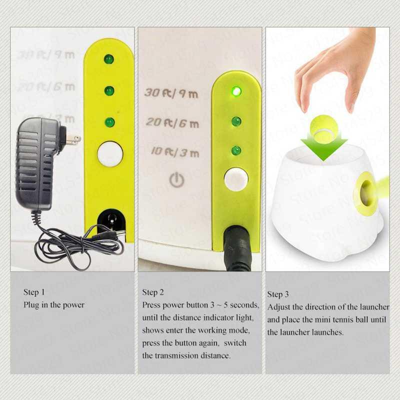 Chien jouets pour animaux de compagnie lanceur de Tennis Machine de lancement automatique balle pour animaux de compagnie jeter dispositif Section émission avec 3 balles nous Plug - 5