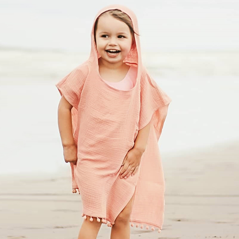 Summer Girls Beach Dress Cute Children Swim Wear Kids Swimsuit Cover Up Sundress Bikini Dress Hooded Tops Tassels Kids Beachwear in Cover Ups from Sports Entertainment