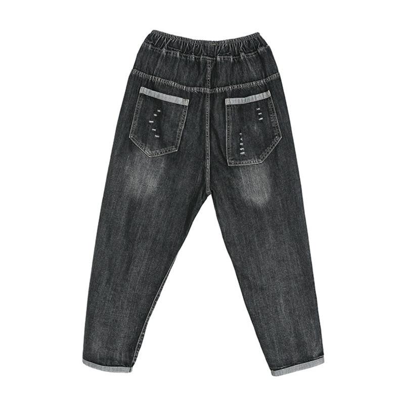 Comodi Per Personalità 2019 Dei Tasca Rappezzatura Pantaloni Allentato Nuovo Di Donne Le Black Primavera Banda Jeans Modo Estate Con Della Q043 ZqrPxwZz7n