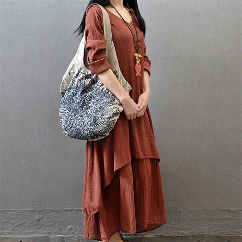 בתוספת גודל נשים Boho ארוך שרוול פשתן שמלת איכר Loose האתני מקסי ארוך שמלות סתיו מזדמן גדול גודל שמלות עבור נקבה