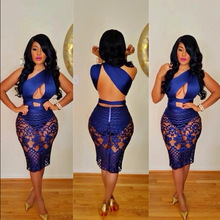 Women Fashion Lace Sexy Bandage Dress Slim Blue Backless Bodycon Hollow Out Sleeveless Dresses Party Night Club Lace Dress summer satin sexy backless lace up slim bodycon dress sexy club sleeveless bandage dresses women sexy party dress