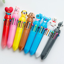 10pcs/lot Korea  Cartoon Creative 10-Color Ball-Point Pen Multicolor Bullet proof Youth Club Cute Students Stationery