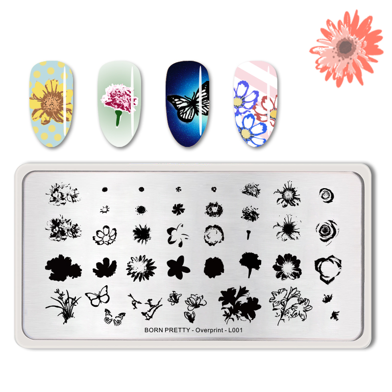 <font><b>BORN</b></font> <font><b>PRETTY</b></font> 1 PC Rectangle Overprint Stamping Template Flower Butterfly Pattern Nail Art Stamp Plate Stencils Nail Tool -<font><b>L001</b></font> image