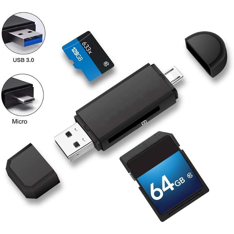 Micro USB+USB 2 In 1 OTG Card Reader Universal High Speed USB2.0 Memory Card Adapter For Windows PC Android Phone Tablet